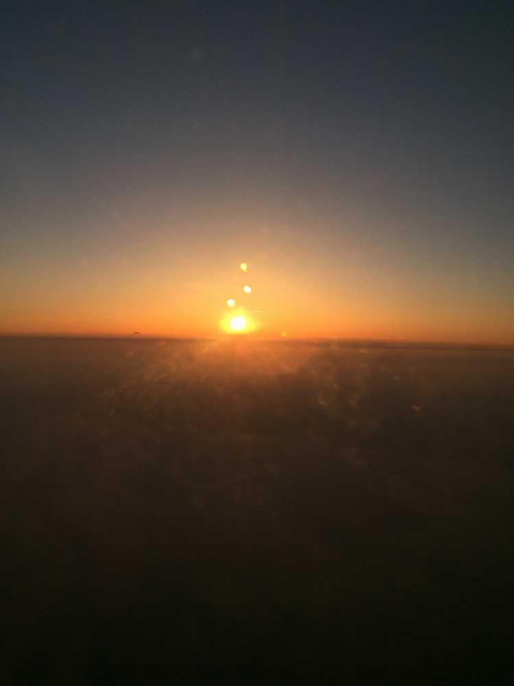 JAL876ビジネスクラスからの夕日画像