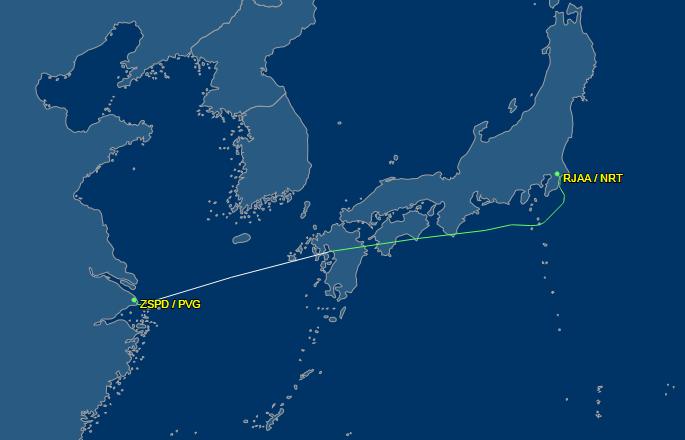JAL876の飛行ルート画像