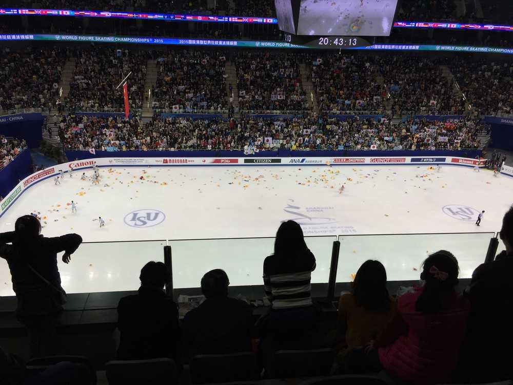 世界フィギュアスケート選手権2015男子ショートプログラム・羽生結弦演技後画像