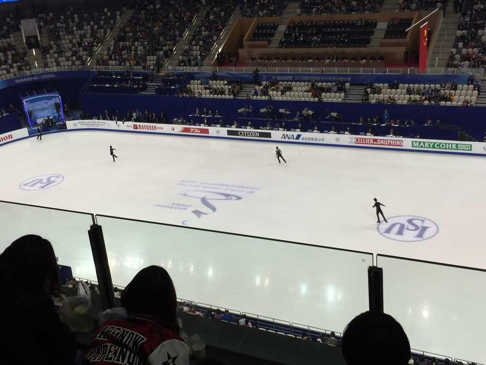 フィギュアスケート世界選手権 フリースケーティング6分間練習画像